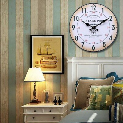 Retro Vintage Style Round Wood Wall Clock Office Home Living Room Decor