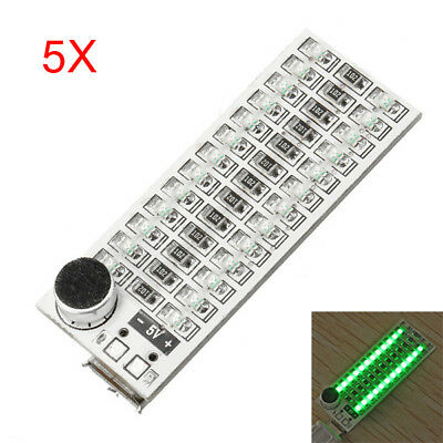 5Pcs 2x13 USB Mini Spectrum Green LED Board Voice Control Sensitivity Adjustable