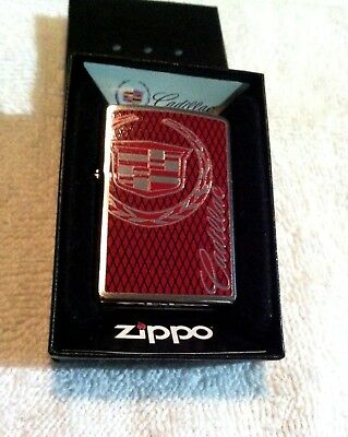 """New Old Stock Hard To Find Zippo Lighter Retired""""cadillac""""emblem Hp Chrome Look!"""