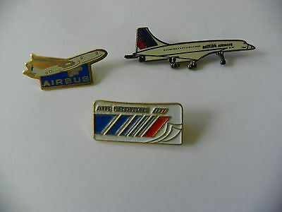 Lot 3  PIN'S  AVION AIRBUS Air France British Airways