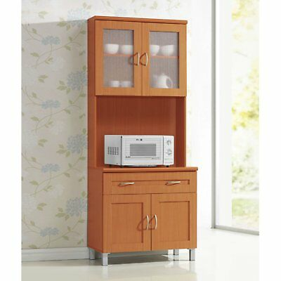 Kitchen Microwave Stand Storage Cabinet Cupboard Tall Pantry Wood Shelves Cart