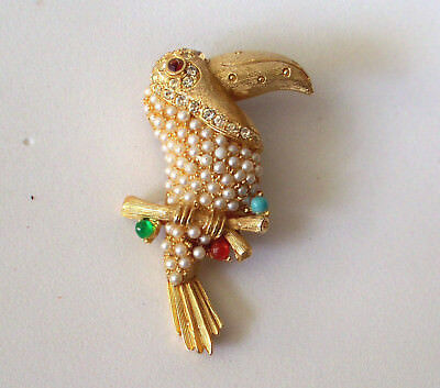 Vintage Toucan Gold Tone, Pin Broach, Pearls, Stones