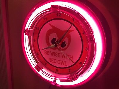 ^^^Red Owl Grocery Store Kitchen Diner Advertising Neon Wall Clock Sign