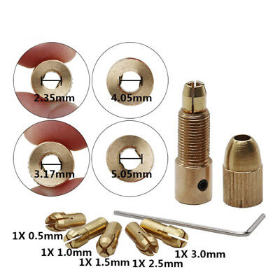 7pc Mini Electric Brass Drill Bit Collet0.5-3mm Self Tightening Drill Chuck Set