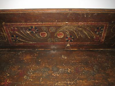 Rare Antique Wood Trundle Bench Original Paint late 1800's, early 1900's