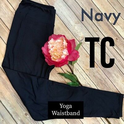 Solid Navy Leggings Yoga Waistband Butter Soft PLUS SIZE Curvy TC NWT