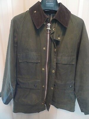 Barbour-  A100 Bedale  Waxed Cotton Jacket - Rare -4 Front Pockets- Made @ Uk-36