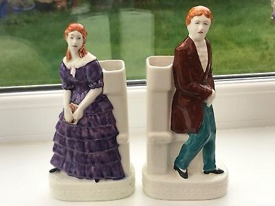 Antique Art Deco Spill Vase Unmarked Pair Woman And Man Hand Painted