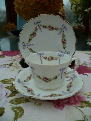 Vintage Collingwood's China Tea Cup Trio Saucer Plate Ribbons & Bows York