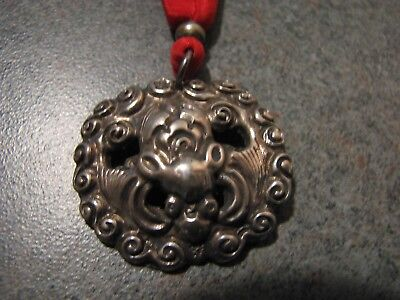RARE ANTIQUE CHINESE SILVER PIECE AS PENDANT on Silk Cord - One-of-a-kind - F245
