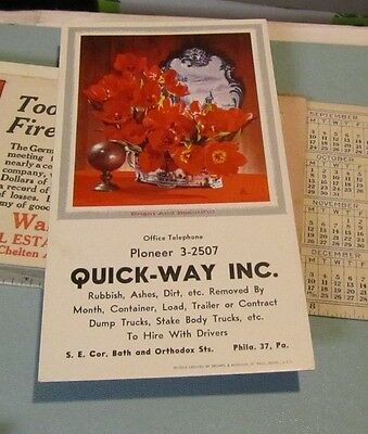 Vintage Quick-Way Inc. Rubbish Removers Advertising Ink Blotter Philadelphia PA