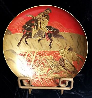 VTG JAPANESE SHOWA RED MAKI-E LACQUERED WOOD BOWL Featuring GUANYIN - SIGNED