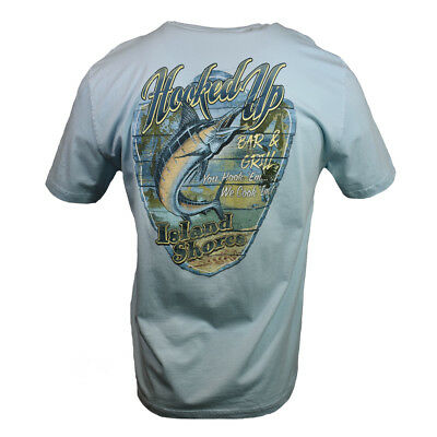 """Hooked Up Men's T-shirt """"Island Shores"""" Bar & Grill  Fishing, Fathers Day Gift"""