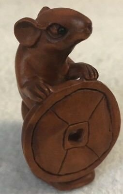 Vintage Japanese Katabori Netsuke ~ Carved Wood Mouse With Coin ~ Glass Eyes