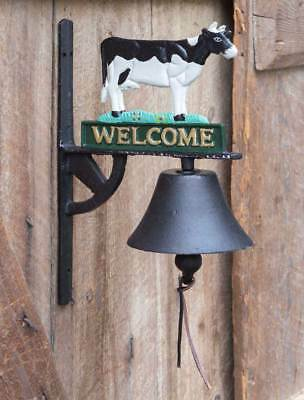 Rustic Primitive Mounted Cast Iron Welcome Ringing Bell with Cow Home Decor