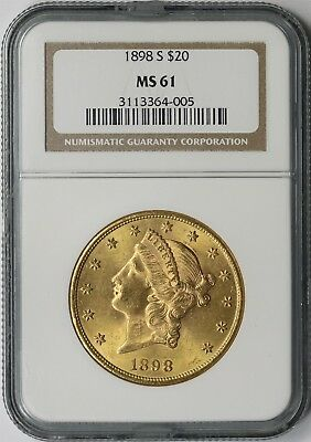1898-S $20 NGC MS 61 Liberty Head Gold Double Eagle