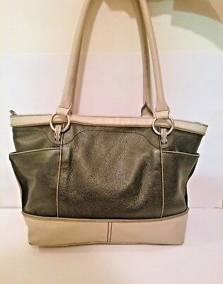 88af949b8353 Beautiful Pebbled Leather Tignanello Shoulder Bag - Black and Cream