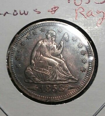 1853 Seated Liberty Quarter, Arrows and Rays, Nice Choice XF-AU++ Better Date!