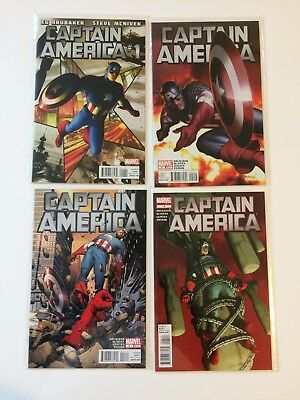 Run of 4 Captain America Vol 6 #1 2 3 4 Marvel Comics (2011) VF/NM Lot Brubaker