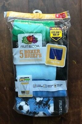 """Fruit of the Loom BOYS' 5 PACK PRINT/SOLID BOXER BRIEFS """" Cotton"""" Size M 10-12"""