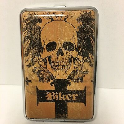 Flying Two Eagle  Skull With Biker Cross Metal Cigarette Case King Size