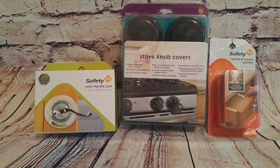 Safety 1st Lever Handle Child Lock + Stove Knob Covers + Drawer Latches