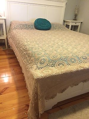 Vintage Crochet Bedspread Lace Tablecloth Coffee Colour