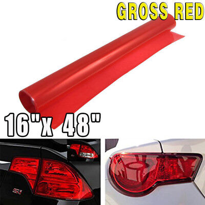 "11""*47"" Neon Gloss Red Membrane Headlight Taillight Fog Light Vinyl Tint Film"