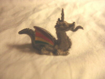 Pewter Dragon With Colored Wings Figurine By Spoontiques p521