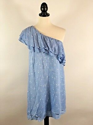 Charles Henry Women's Dress Small Blue White One Shoulder Shift Ruffle NWT