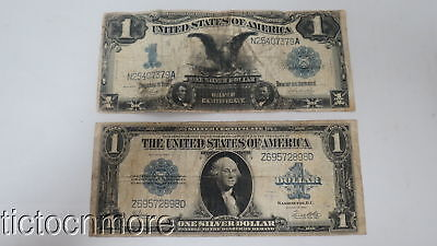 Us 1899 & 1923 $1 Silver Certificate Notes Serial # N25407379A & # Z69572898D