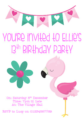 Personalised Photo Paper Card Birthday Party Invites Invitations FLAMINGO PINK 2