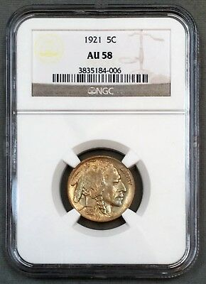 1921 Buffalo Nickel 5C NGC AU58 - Colorful Toning