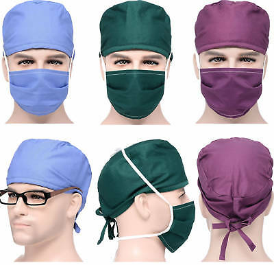 Men Women Doctor/Nurses Scrub Cap Medical Surgical Surgery Hat + Mask Solid