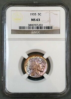 1935 Buffalo Nickel 5C NGC MS63 - Colorful Toning