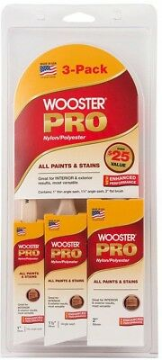Paint Brush Wooster Pro Flat 1 Angle 1-1/2 Angle Sash 2 Nylon/Polyester 3-Pack