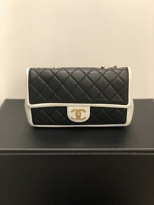 3e5a66ccea97f5 CHANEL Quilted Lambskin Classic Flap Bag In Black and White- Cruise  Collection