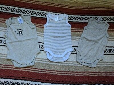 3 x baby sleeveless jumpsuits 0-3 months