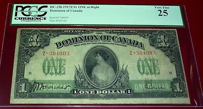 1917  DOMINION OF CANADA $1 -LARGE CANADIAN BANKNOTE-DC-23b