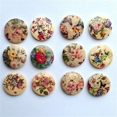 50Pcs 20mm Retro Round Wood Buttons Mixed Pattern Two Holes Buttons Print Button