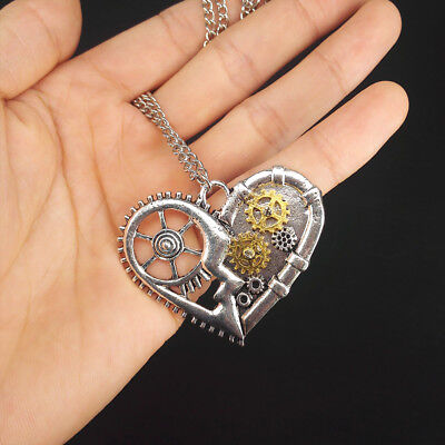 Creative Steampunk Love Heart Shape Necklace Gear Pendant Women Jewelry Gift