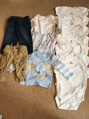 Unisex/boys bundle x 12 trousers, tops and vests used condition  9-12 months