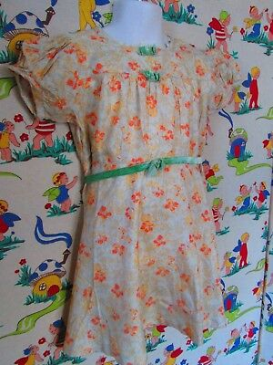 Original Vtg 30's 40's Girls soft cotton dress Make do & mend Evacuee Age 3/4