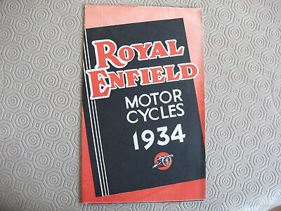 Royal Enfield 1934 original sales brochure, full range, poster style, v g c.