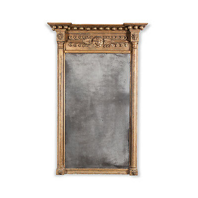 Lovely Regency Gilt Pier Mirror, With Original Plate. Antique, 19th Century.