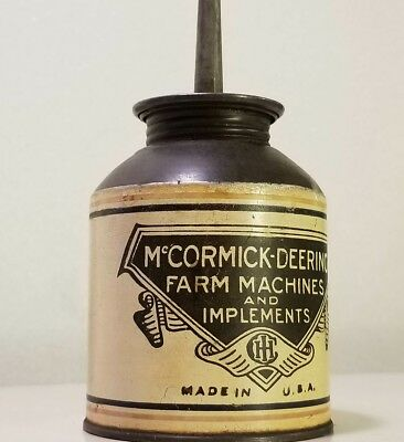 Vintage McCormick Deering Oil Can Tin Oiler Farm, James P Vinckel Cambridge ILL