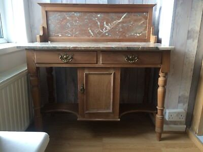 Beautiful Antique 1880/90''s Pine/satinwood Marble Top Washstand - Plymouth area