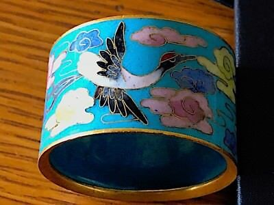 Antique/vintage?? chinese cloisonne napkin ring with cranes.