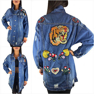 low priced 772fc be705 DAMEN JEANSJACKE LANG Oversize Blau Destroyed Stickerei Denim Mantel  Blogger Neu