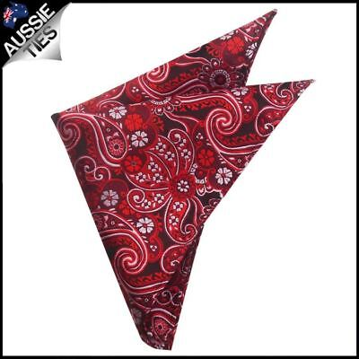 Black with Red & White Floral Paisley Pocket Square Handkerchief